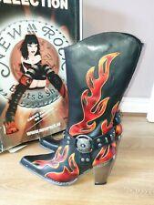 BNWT LADIES DESIGNER NEW ROCK GOTHIC HEELED FLAME BOOTS UK 6.5 RRP £194.99