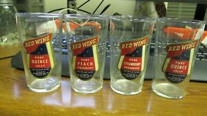 Fredonia, N.Y. Red Wing labeled Jelly Glasses 3 diff flavors Peach Quince Strawb