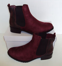Ladies Wine (C296-1) Ankle Contrast Faux Suede Slip On Boots New Sizes 4 5 6 7