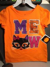 NEW Halloween MEOW Orange T-Shirt Girls Size 3T Shiny Black Cat Short Sleeve