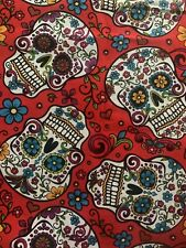 Sugar Skull Day of The Dead 1/2 YARD (18 X 44)  Cotton Material Fabric