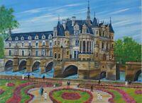 Dan Gandre: El Castillo de Chenonceau - Litografía Firmada a Lápiz #150ex