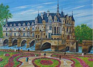 Dan GANDRE : Le château de Chenonceau - LITHOGRAPHIE signée au crayon, 150ex