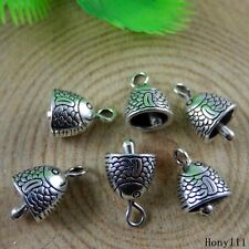 Vintage Silver Alloy Carving Fish Pattern Bell Charms Pendants Crafts 50949 30x
