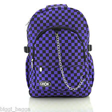 BLACK PURPLE CHECKER BACKPACK RUCKSACK Check Goth Skate School College CHOK Bag