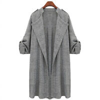 Womens Waterfall Belted Drape Long Trench Coat Ladies Blazer Jacket Outwear 6-22