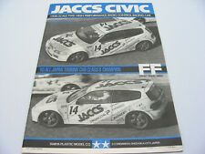 Vintage Tamiya 58133 JACCS Honda CIVIC FWD FF FF01 User's Guide Manual RARE NEW!