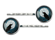 Crow & Full Moon Gothic Raven Nevermore Horror Halloween Silver Glass Hair Clips