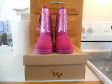 """Girls """"Dije California"""" Hot Pink Suede Leather Sequin Boot-Style #K5005-Sz 4 M"""