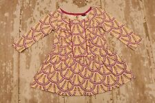 Tea Collection Pink Purple Mustard Yellow Dots Long Sleeve Dress Girl's 12-18 Mo