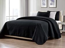 3-Piece King Black Linen Plus Collection Over size Bedspread Coverlet Set