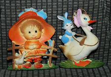 "Vintage Plastic Ornaments / Nursery Baby Room Wall Decor Bunny Goose Girl 4"" VTG"