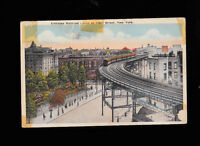 Elevated Railroad Curve at 110th Street New York City postcard