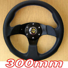 Sports STEERING WHEEL 300mm-Nero 3 Spoke PU Cuoio Imitazione 30cm