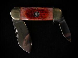 RARE Vintage Rough Rider Red Bone Dual Blade Folding Knife Oxblood