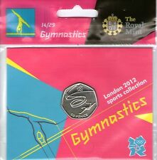 2012 50p OLYMPIC 14/29 GYMNASTICS COIN HANGING BAG BRILLIANTLY UNCIRCULATED @