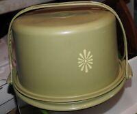 Vintage Tupperware Harvest Gold Round Cake Carrier #684 Holder w/Handle Green