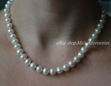 Real 8-9mm Freshwater Cultivated White Pearl Necklace