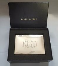 RALPH LAUREN BECKBURY SILVER PLATED BRASS BOX WITH TEAK WOOD INTERIOR