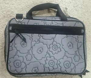 Thirty One Toiletry Travel Case Bag – Gray Quilted Poppy Floral – 2 Compartments