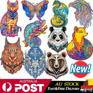 Wooden Jigsaw Puzzles Animal Shape Adult Kids Child Toys Gifts Home Decor 🎖️