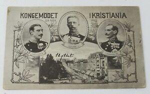 1917 Postcard of Kings of Denmark, Norway, and Sweden Street Scene Haakan VII