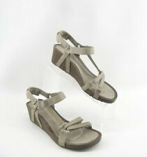 TEVA YSIDRO WEDGE TAUPE LEATHER SPORT SANDALS SHOES WOMENS 9 US