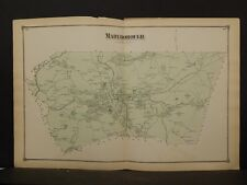 Massachusetts Middlesex County Map 1875 Town of Marlborough, Double Page !Z4#18