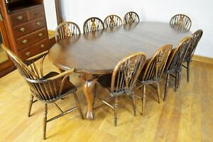 Stunning Farmhouse oak extending wind out dining table + 10 wheelback chairs