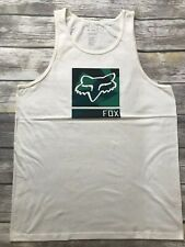 Fox Racing MX Moto-X White Fox Logo Graphic Tank Sleeveless Tee Muscle Shirt