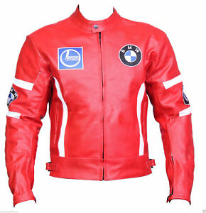 BMW Red Racing Leather Motorcycle Jacket