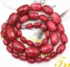 "Jewelry Faceted Exquisite Red Ruby Old Beads Beads Gems Necklace 18 ""AAA +"