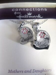 Hallmark Mothers Day Mother Daughter Necklace Heart Pendant Connections Pink