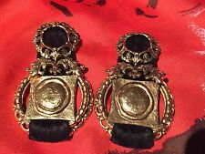 1980s REMINISCENCE PARIS Gold with Black Velvet Clip-On Earrings
