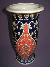 "13"" Chinese Heavy Ceramic Blue Red Floral Vine Umbrella Stand Vase Contemporary"