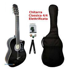 Chitarra Classica Nera 4/4 Amplificata Elettrificata Cutaway Custodia Accessori