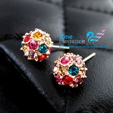 9ct 9k gold GF solid stud ball wedding earrings made with swarovski elements