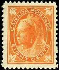 Canada #72 mint F-VF OG LH DG 1897 Queen Victoria 8c orange Maple Leaf CV$300.00