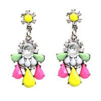 1Pair Elegant Charm Women Rhinestone Colorful Resin Ear Stud Drop Dangle Earring