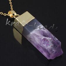 Gold Plated Natural Amethyst Quartz Druzy Crystals Random Stone Pendant Necklace