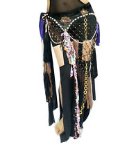 New Tribal Black Belly Dance Hip Scarf Belt Costume With Fringes Shells Chains
