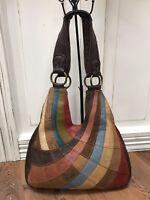 LUCKY BRAND LARGE LEATHER COLOR BLOCK Handbag Boho Hippie