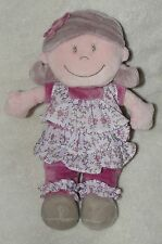 Noukies Plush Doll Pink Flower Floral Dress Baby Girl Soft Toy