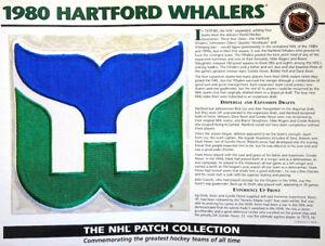 1980 HARTFORD WHALERS Willabee & Ward NHL THROWBACK HOCKEY TEAM LOGO PATCH Card