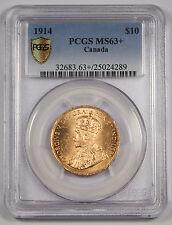 Canada 1914 $10 Gold Coin PCGS MS63+ George V (0.4838 Oz AGW) GEM Secure Plus