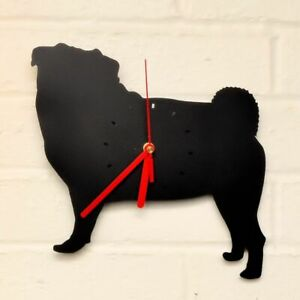 PUG Shaped Modern Wall Clock Bedroom Home Decor Gift in BLACK or RED