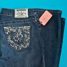 """27 x 33 """" Pre-Owned TRUE RELIGION $240 STRAIGHT flower embroidery JEANS"""