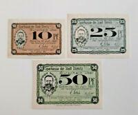 DÖMITZ NOTGELD 10, 25, 50 PFENNIG 1921 NOTGELDSCHEINE (11585)