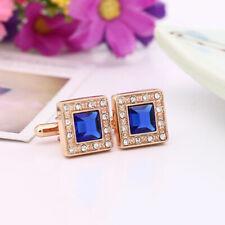 Men's Rectangle Gold Blue Crystal Cufflinks Shirt Cuff Links Party Wedding I0G3
