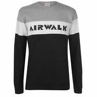 Airwalk Stripe Sweatshirt Mens Gents Crew Pullover T Shirt Tee Top Jumper Full